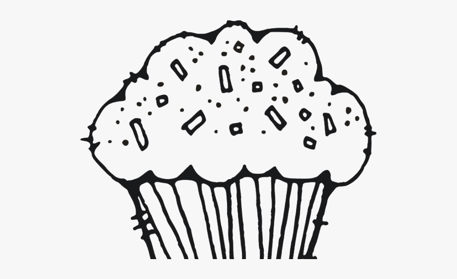 Muffin Clipart Colouring Page.