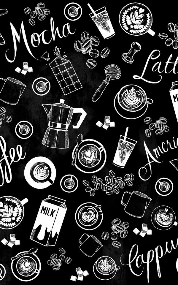 Black and White Coffee Cup Pattern Wallpaper Mural in 2019.