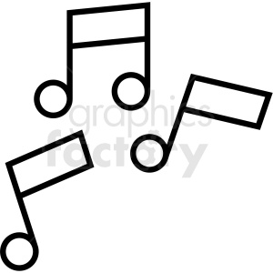 black and white music notes icon clipart. Royalty.