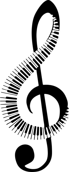 Musical note vector illustration with black white keyboard.