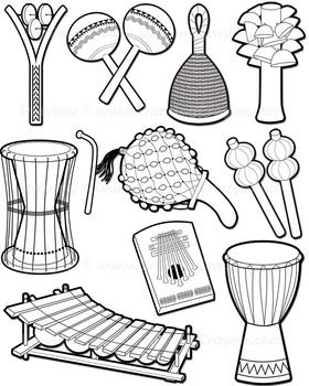 Musical Instruments: African Instruments Clip Art.
