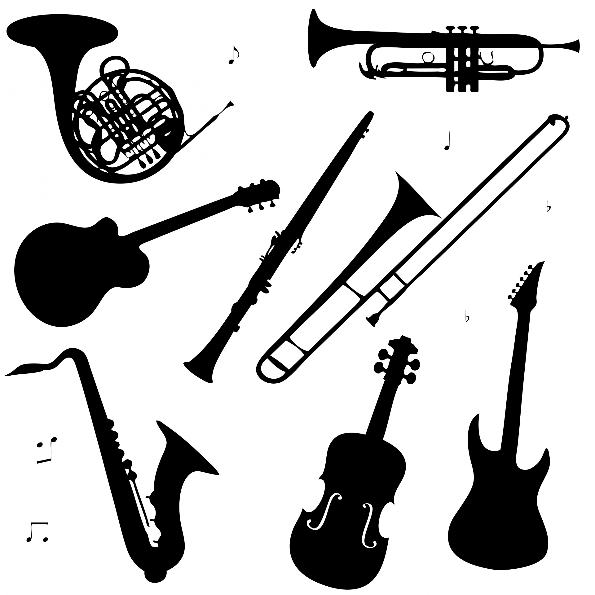 Free Musical Instruments Clipart Black And White, Download.