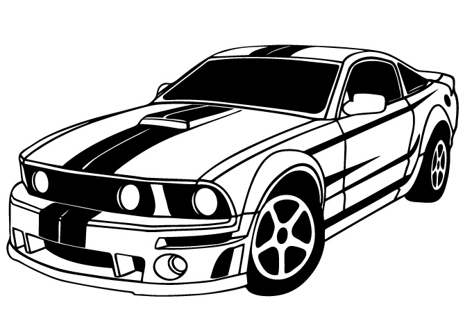 Mustang clipart black and white, Mustang black and white.