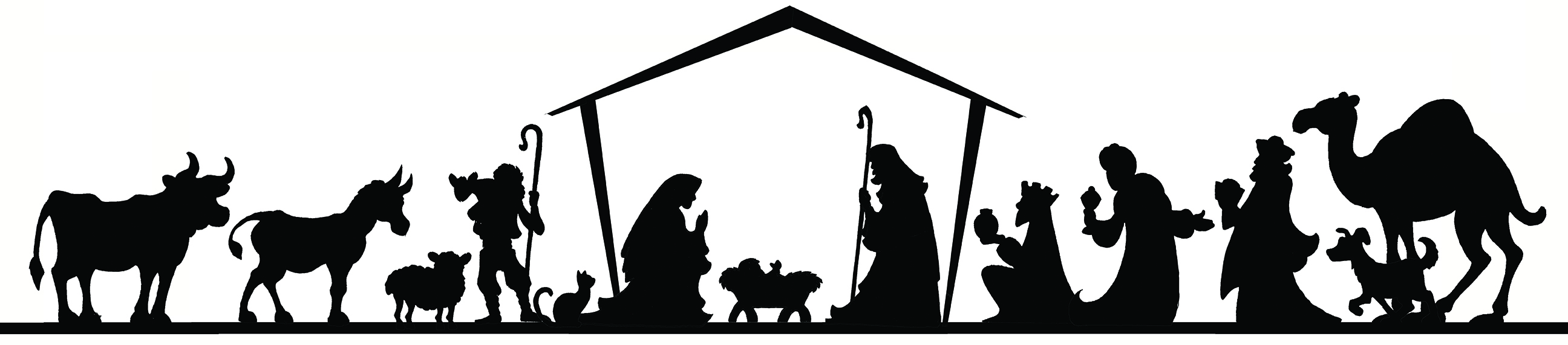 Nativity Black And White Clipart.