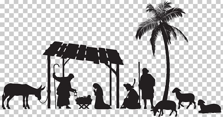 Nativity Scene Christmas PNG, Clipart, Black And White, Brand.