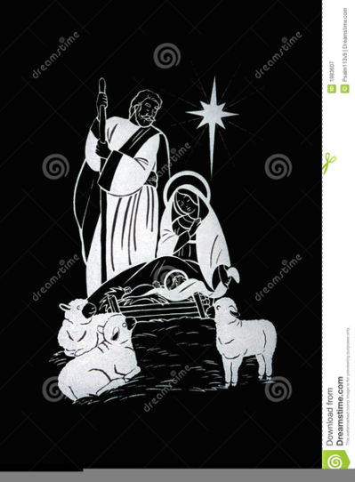 Free Black White Nativity Scene Clipart PNG.