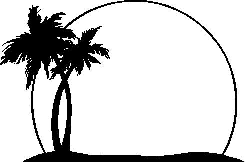 Tropical island clipart black and white.