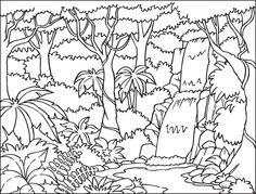 Rainforest Black And White Clipart.