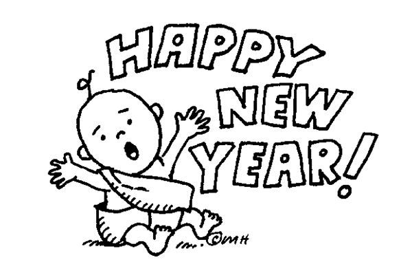 happy new year clip art black and white.