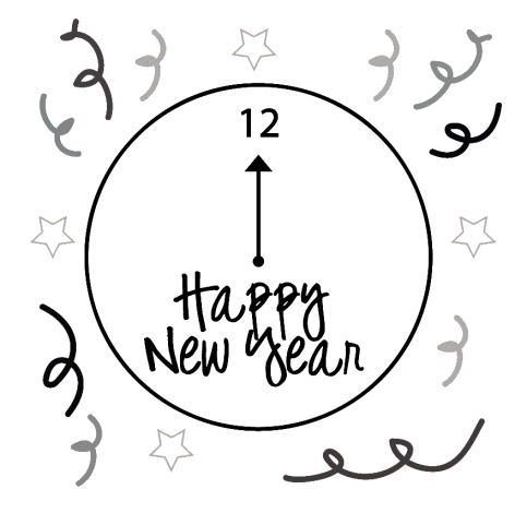 New year clipart black and white 1 » Clipart Station.