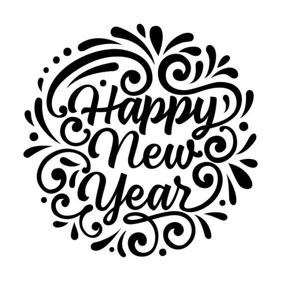 New Year Clipart Black and White.