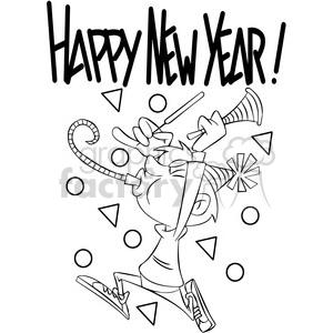 black and white happy new year celebration vector cartoon art clipart.  Royalty.