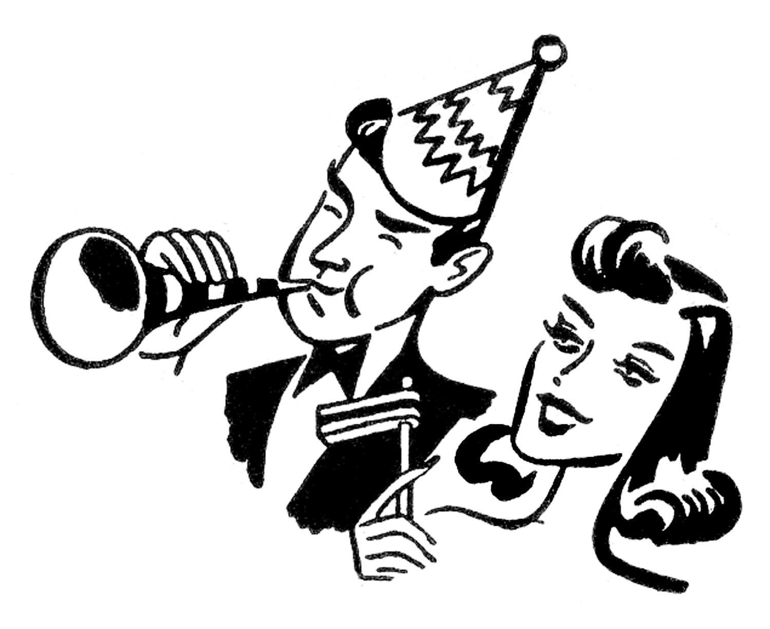 New Years Eve Clipart Black And White.