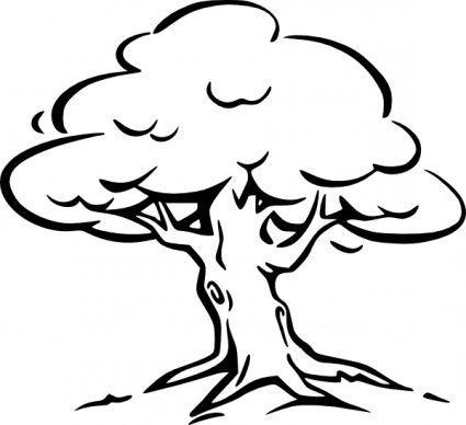Tree clip art oak tree clipart black and white.
