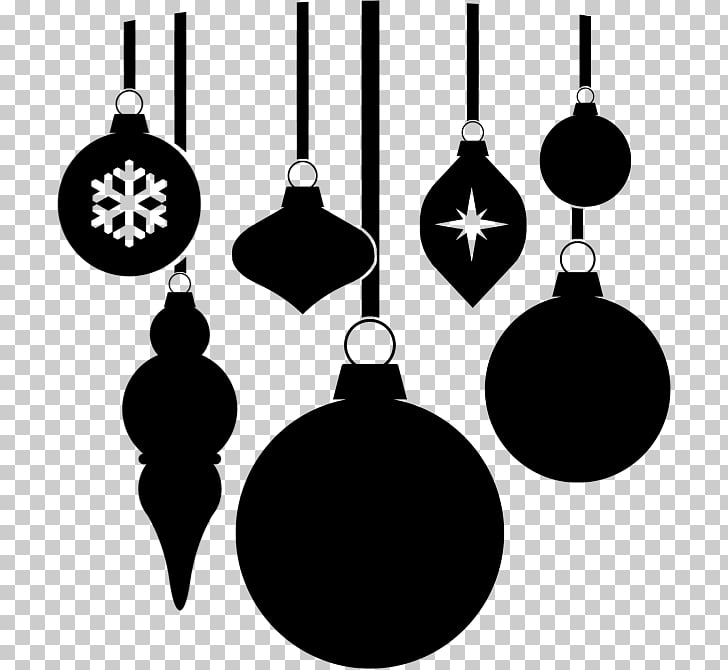 Christmas ornament Black and white , ornaments PNG clipart.