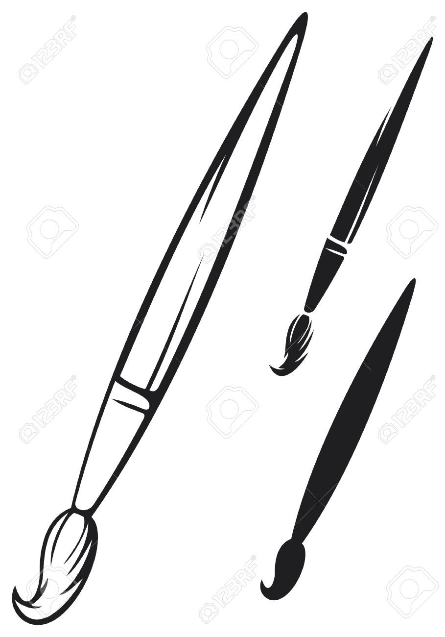 Paint brush clipart black and white 1 » Clipart Portal.