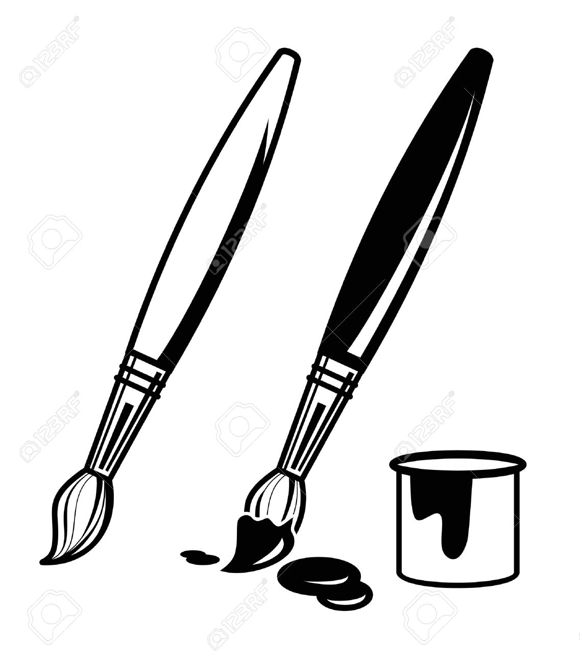 vector black paint brush icon on white background.