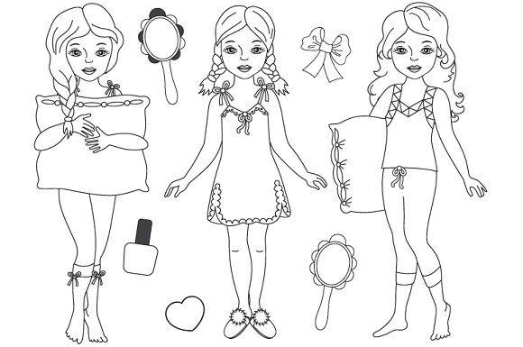 Vector Black & White Pyjama Girl Set Graphics Black and.