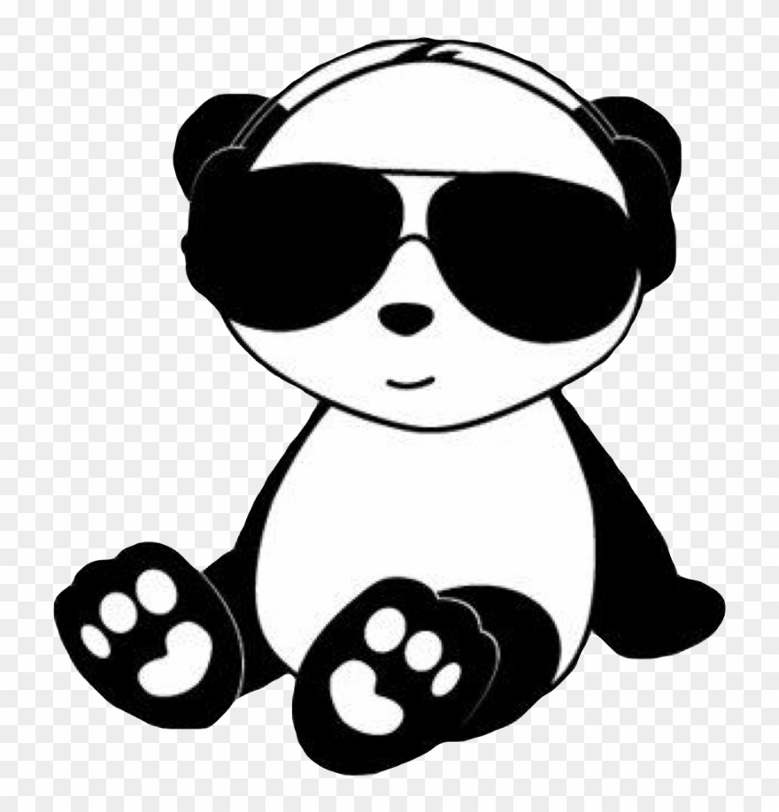 Chill Panda Cute Kawaii Black White Animal Bear Paw Clipart.