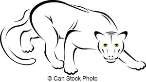 Black And White Panther Clipart.