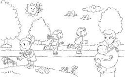 Children Playing Games Park Stock Illustrations.