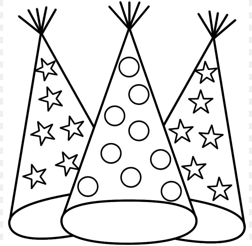 New Years Eve Coloring Book New Years Day Party Hat, PNG.