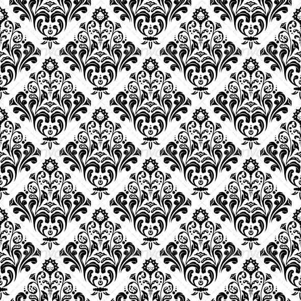 Vintage Floral Pattern Black And White Png Vector, Clipart, PSD.