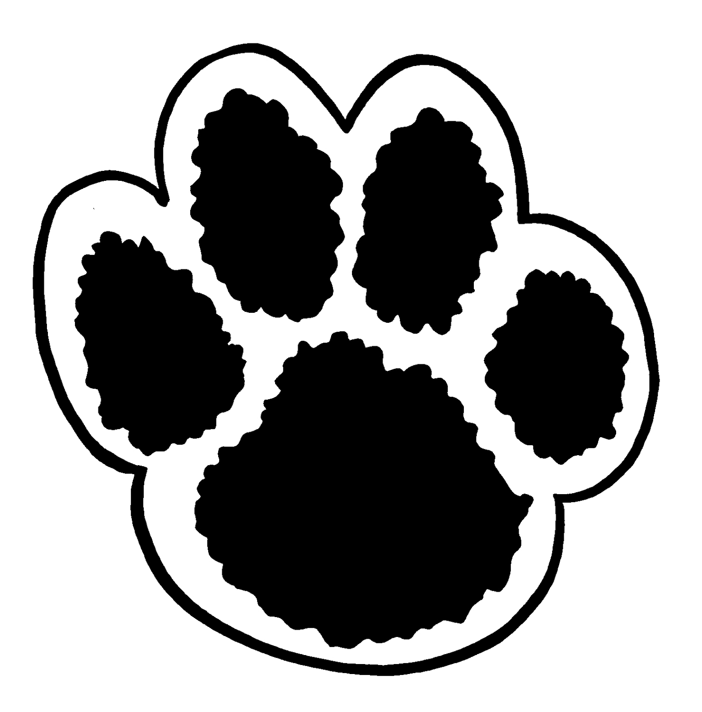 Paw Print Clip Art In Black And White Transparent Png.