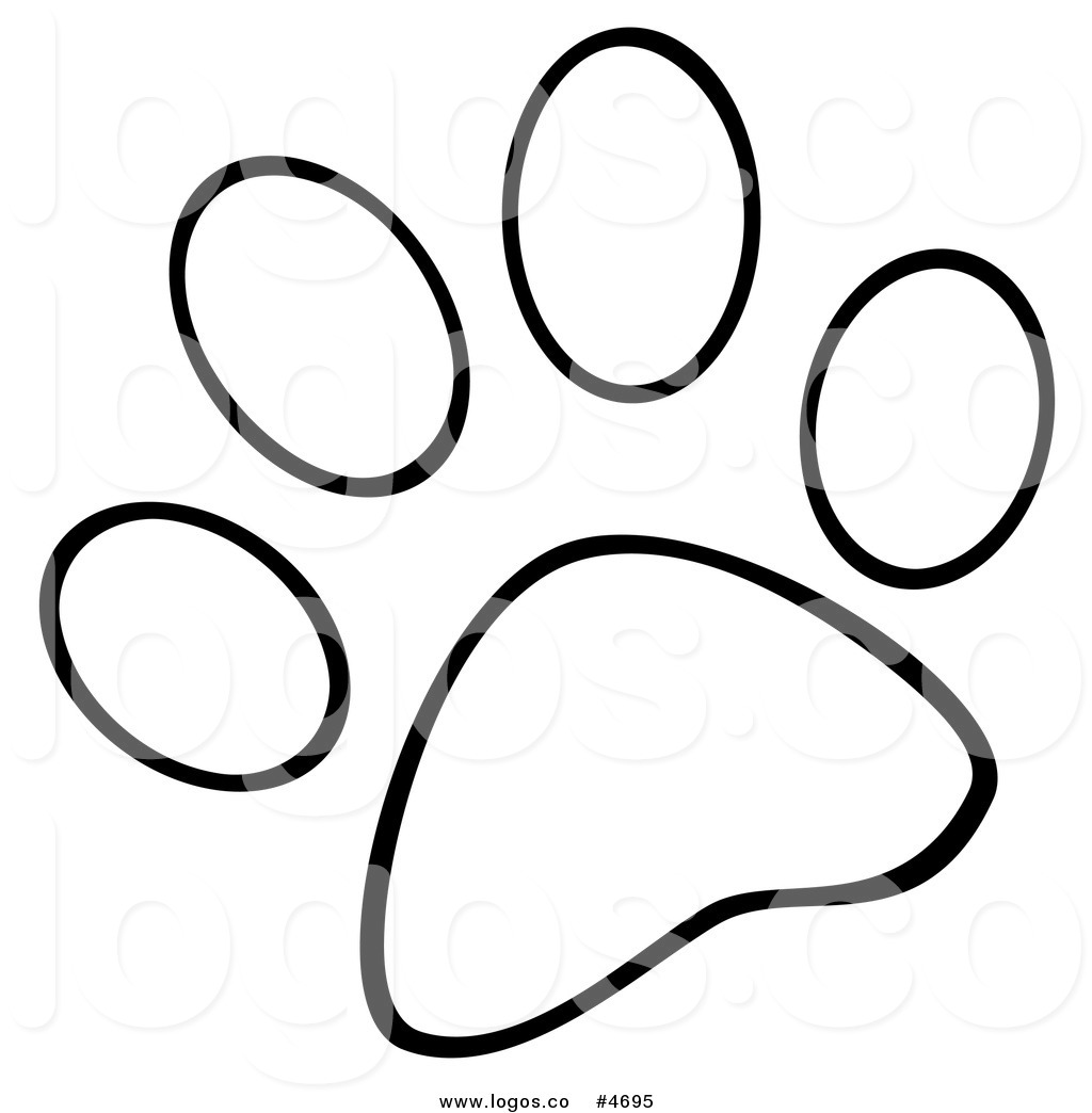 Dog paw paw print clipart free black and white.