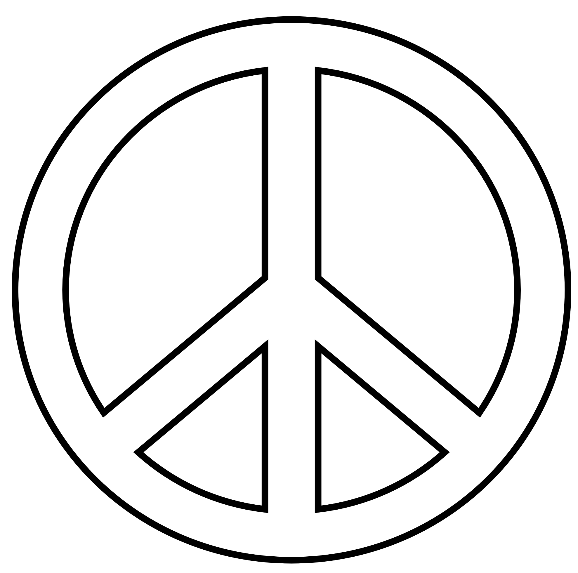 Peace sign clip art black and white free clipart.