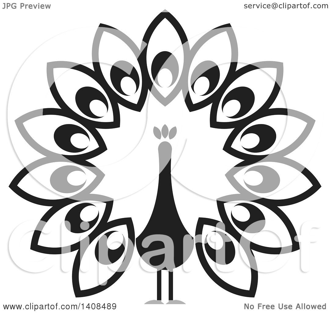 Clipart of a Black and White Peacock.