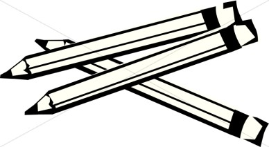 School Pencil Clipart Black and White.