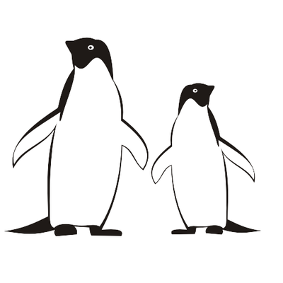 Line Traced Black & White Penguins Clipart Picture.