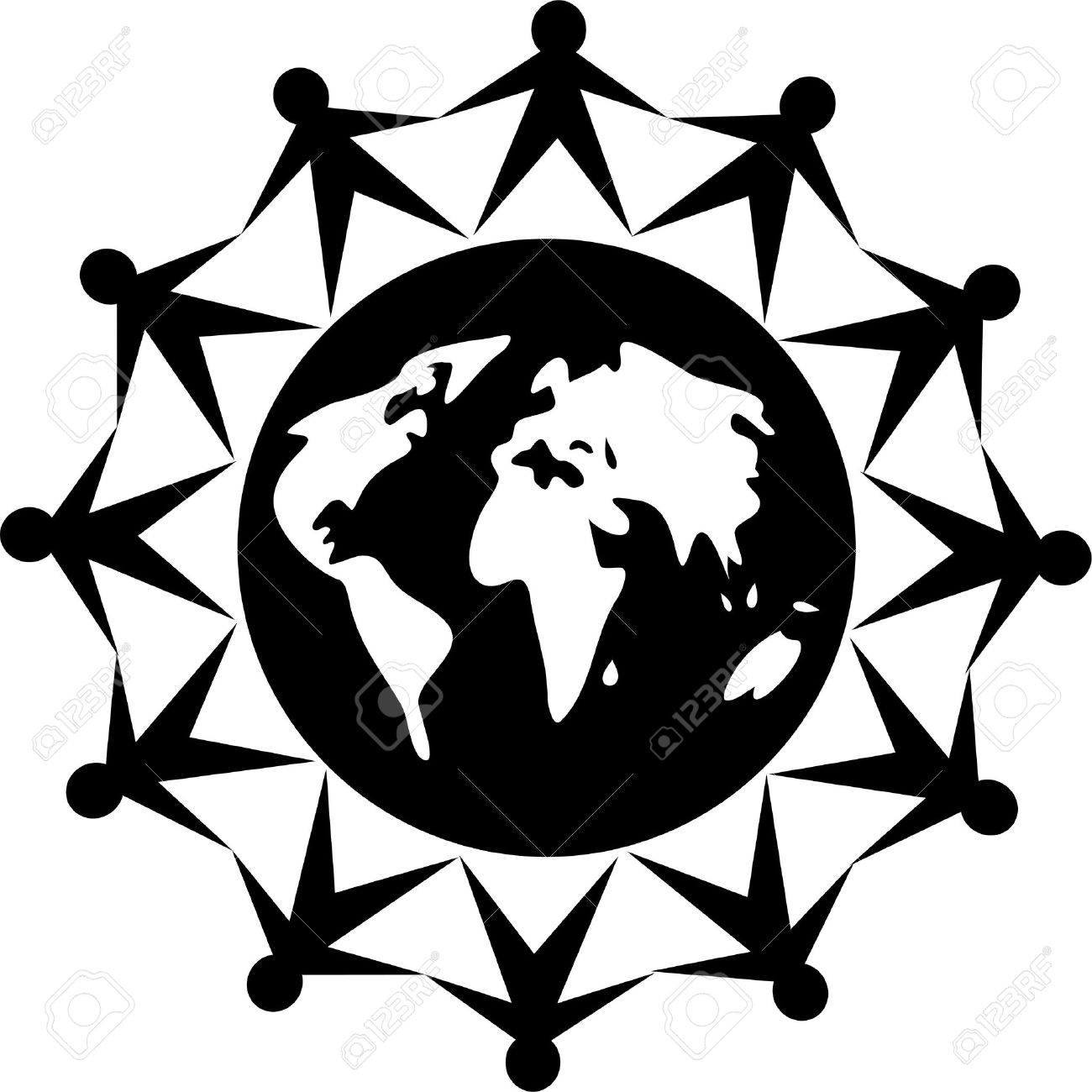 black and white icon style image of united people around the...