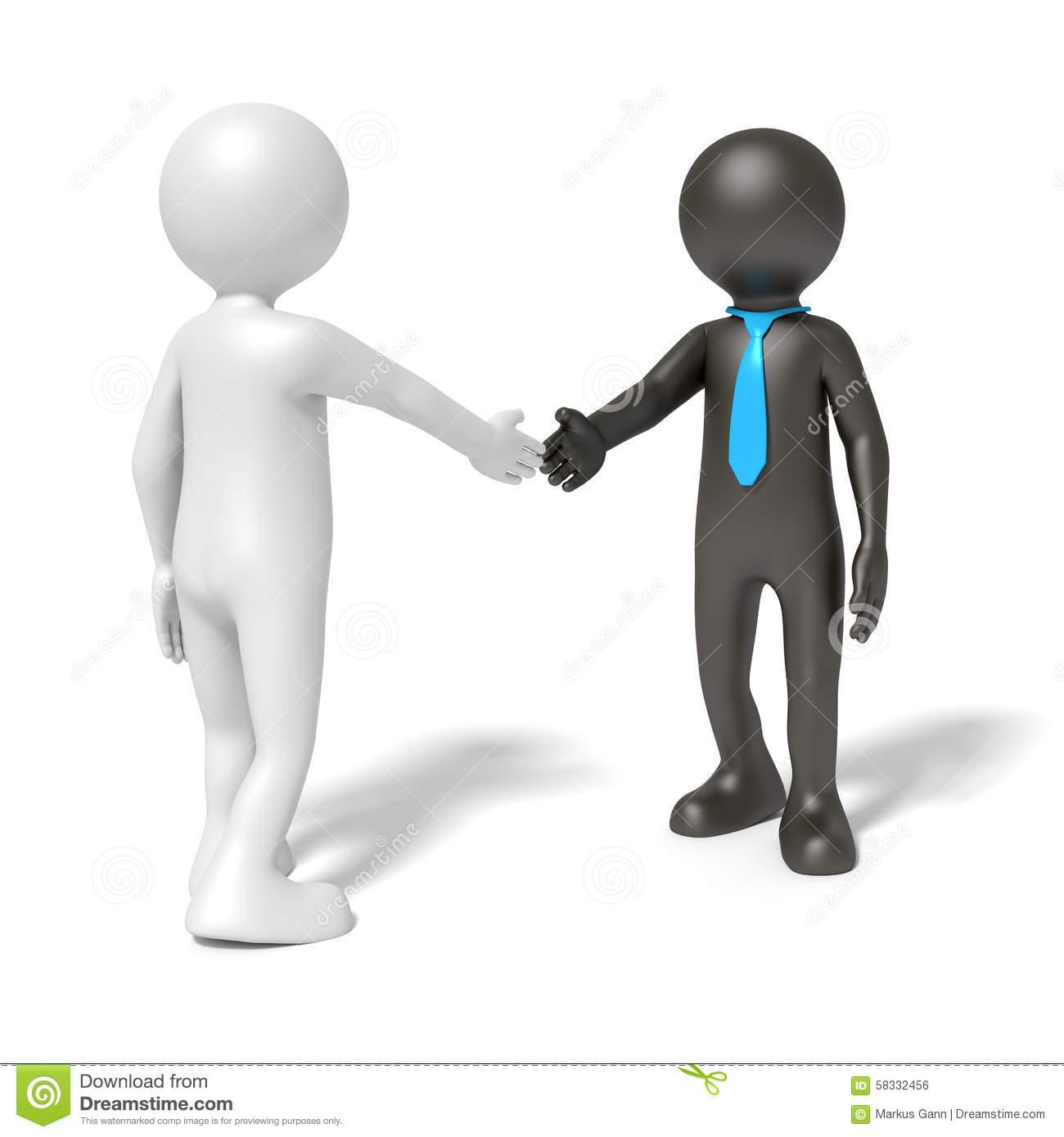 Black And White Man Shaking Hands Stock Illustration.
