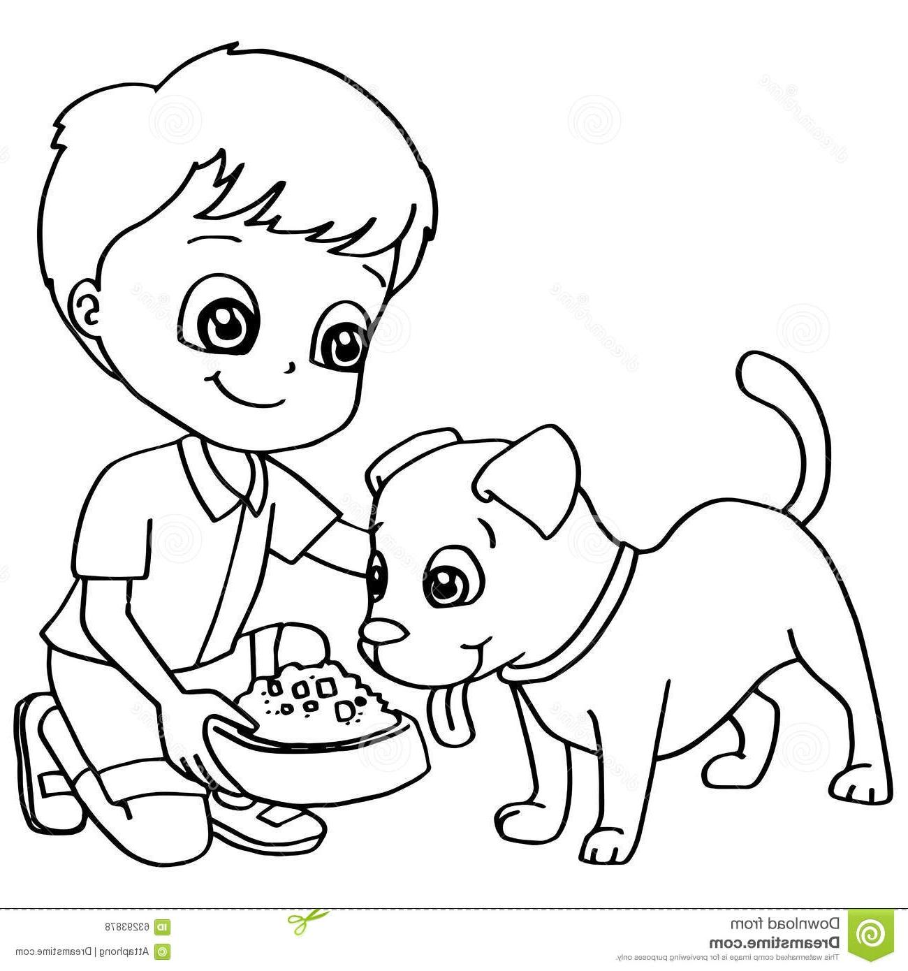 Boy With Dog Clipart Black And White.
