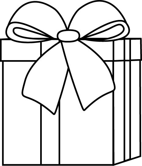 Christmas present clip art black and white.