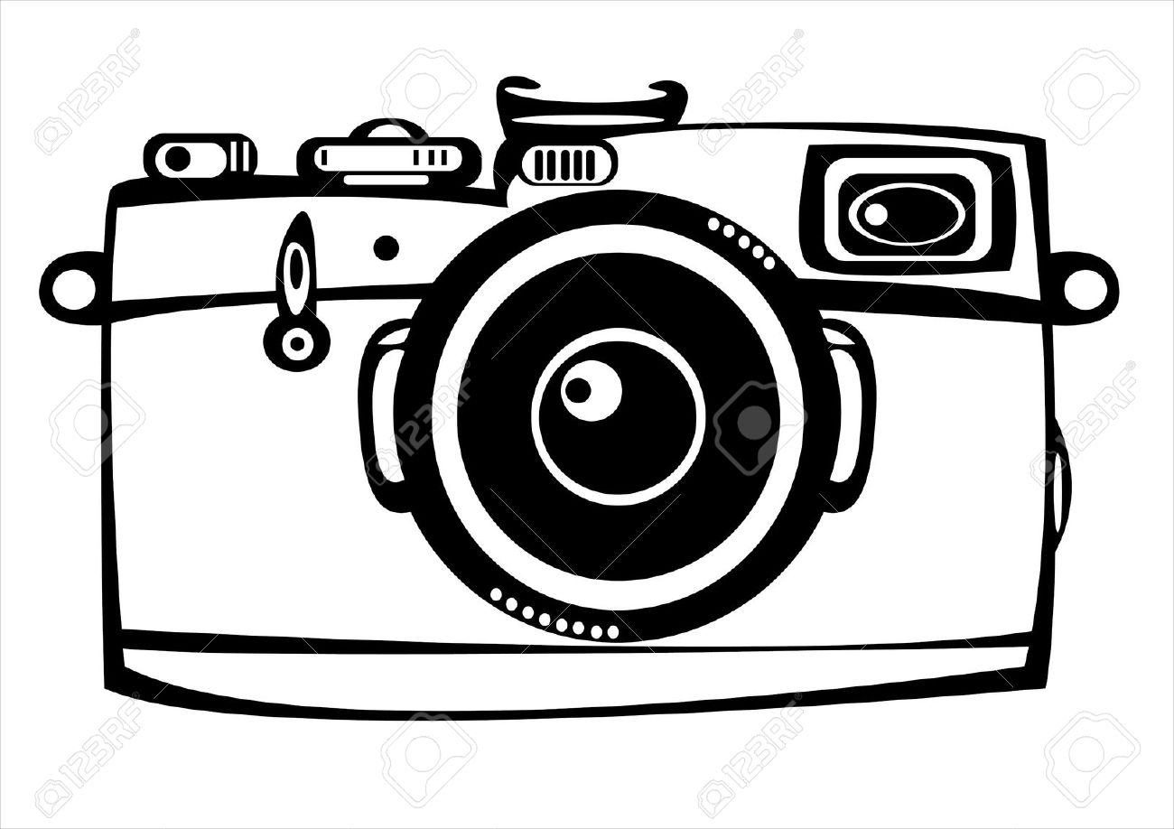 Vintage camera clipart black and white png.