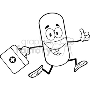 6295 Royalty Free Clip Art Black and White Pill Capsule Cartoon Mascot  Character Running With A Medicine Bag clipart. Royalty.