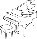 White Piano Clipart.