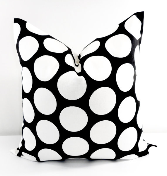 Black Pillow cover. Black and white sham cover. Dandie Black.
