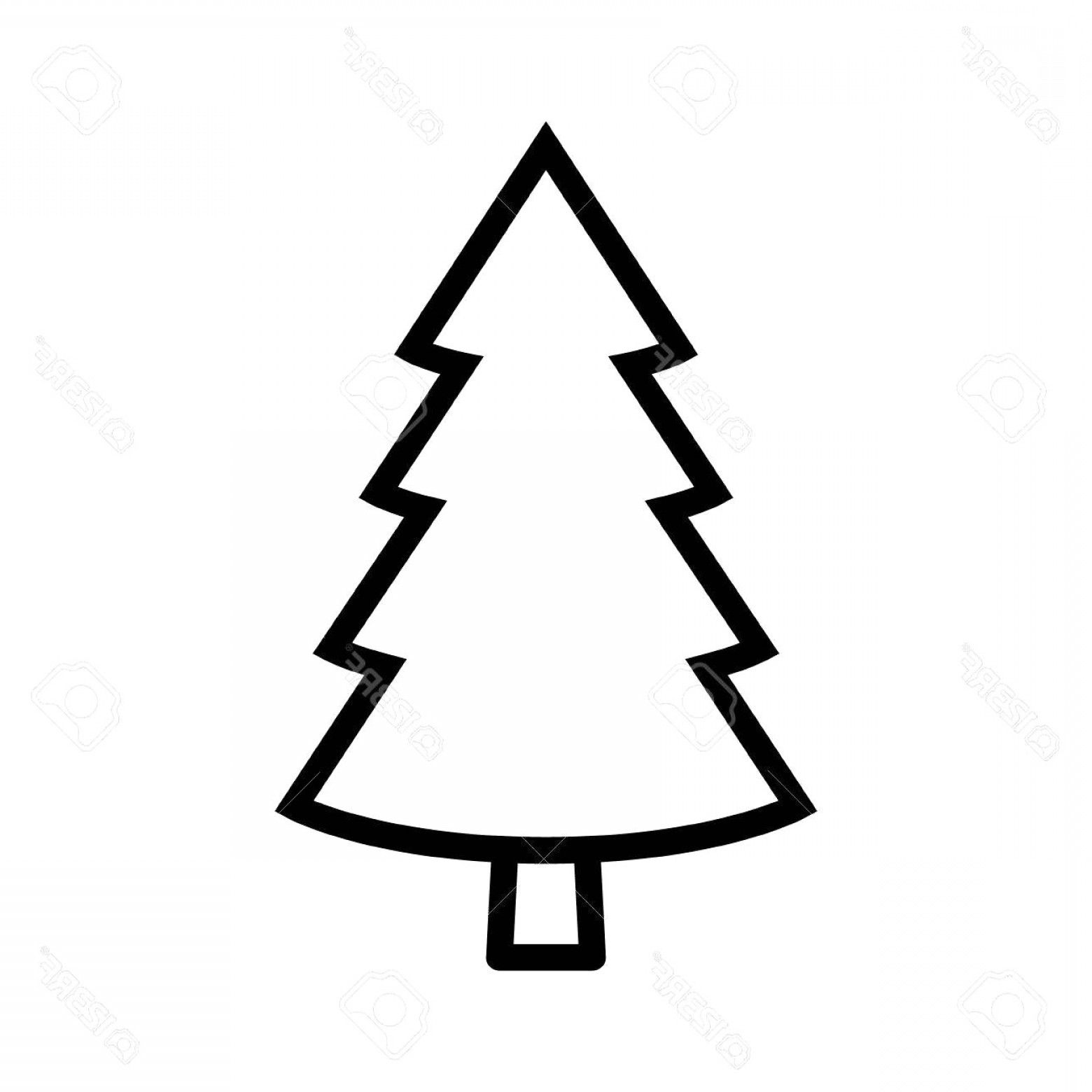 Evergreen Conifer Pine Tree Flat Stylized Line Art Vector Icon For.