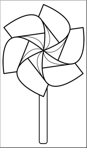 Clip Art: Pinwheel: 6 Blades 3 w/Stick B&W I abcteach.com.