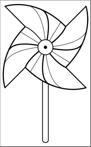Clip Art: Pinwheel: 4 Blades 1 w/Stick B&W I abcteach.com.