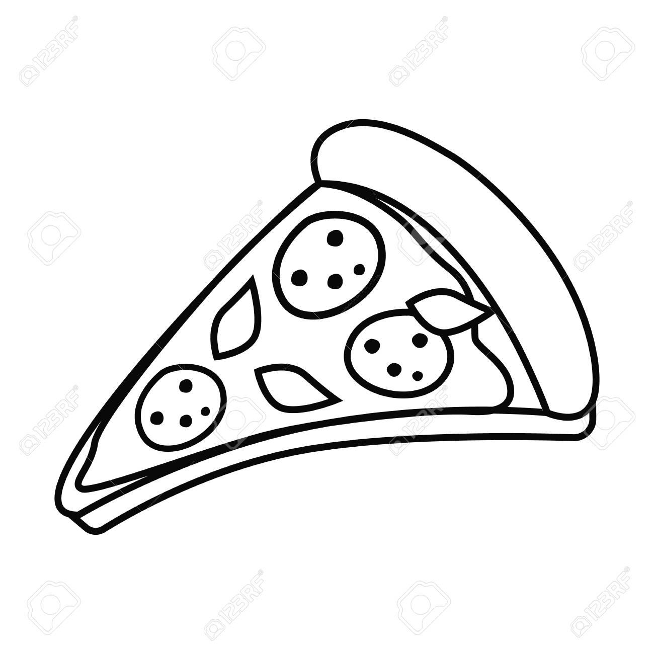 Pizza slice in outline, black and white illustration..