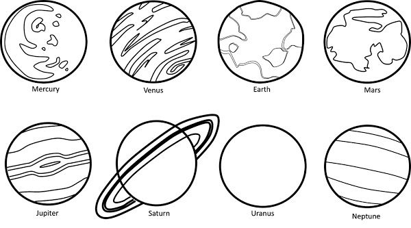 Planets Clipart Black & White.