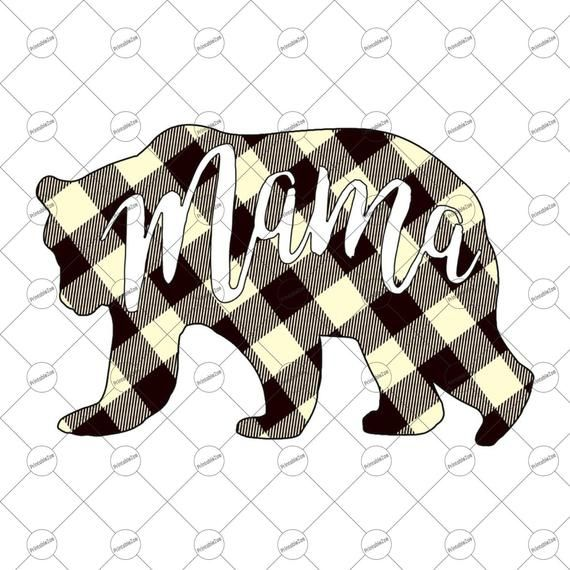 Mama Bear PNG Mothers Day Gift Plaid Clipart, Sublimation.