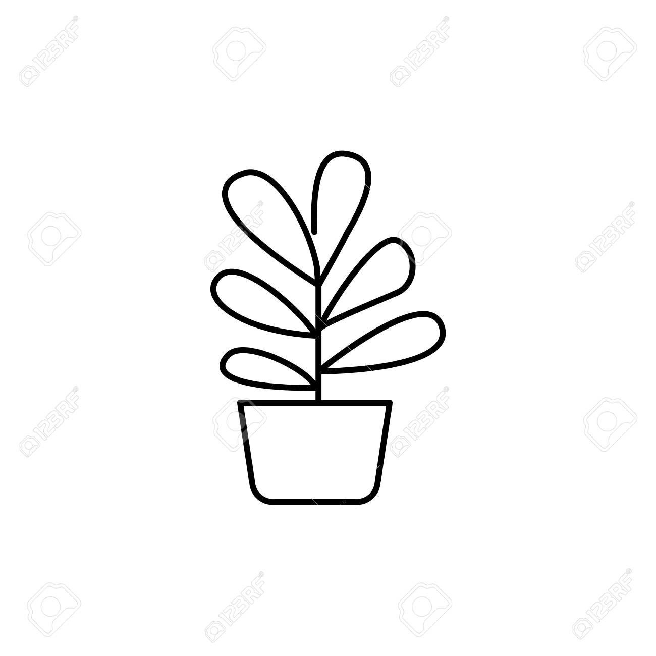 Black & white vector illustration of plant with leaves in pot.
