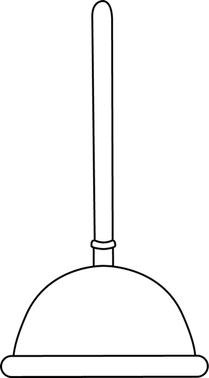 Black and White Toilet Plunger Clip Art.