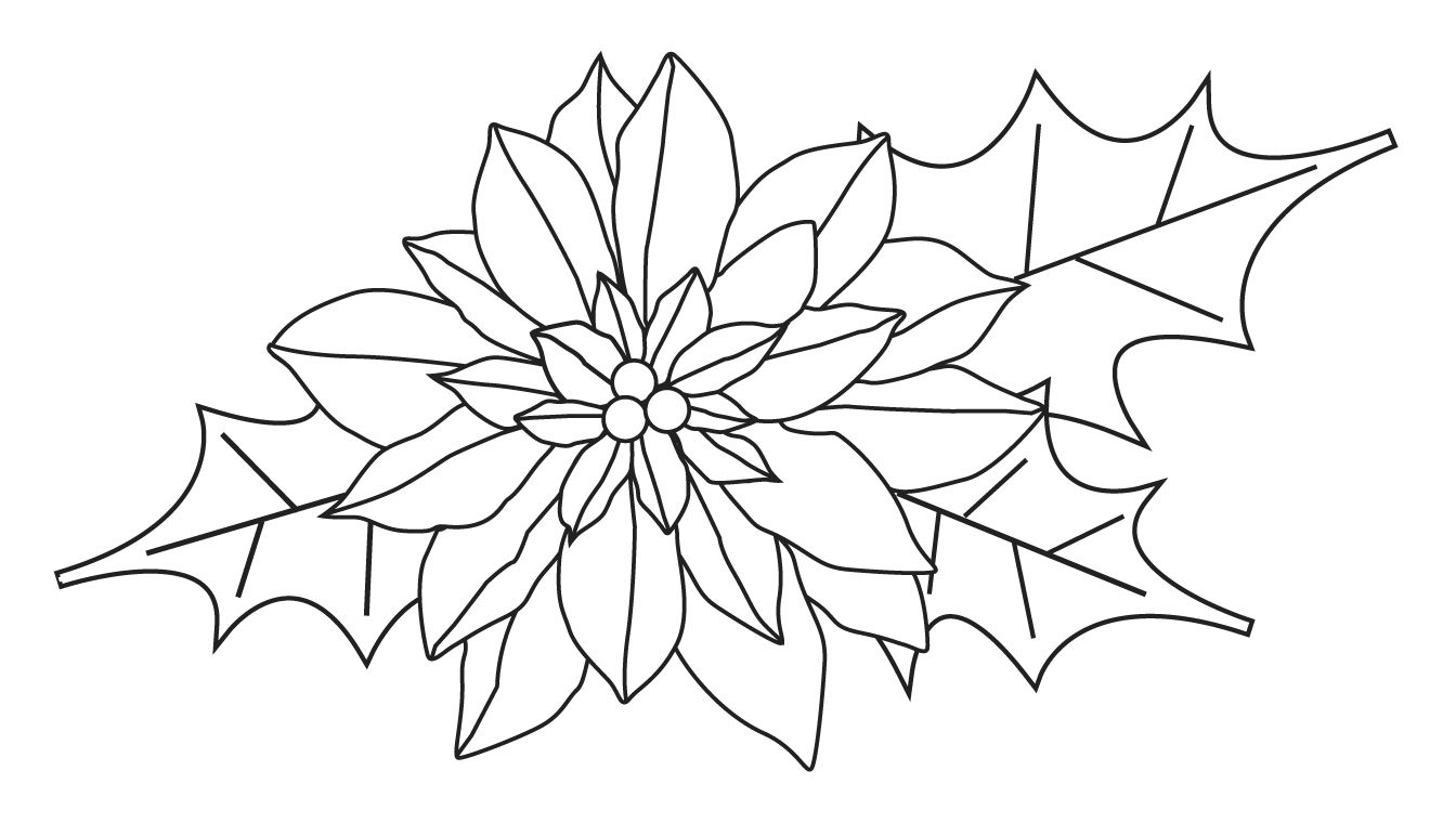 Free Poinsettia Clip Art Black and White.